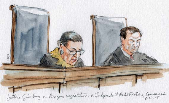 Justice Ginsburg with opinion of the Court (Art Lien)